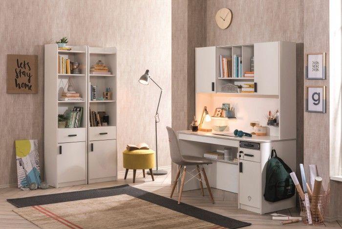Schreibtisch ll WHITE mit großem Schubkasten und Aufsatz
