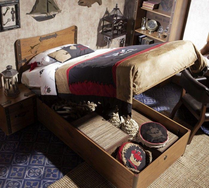 Cilek Black Pirate Jugendbett mit Bettkasten, 90x190 cm
