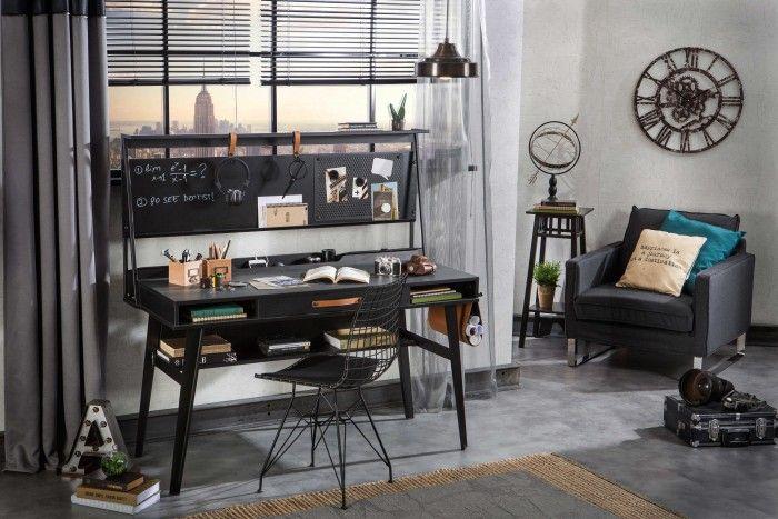 Cilek Dark Metal Schreibtisch mit Aufsatz