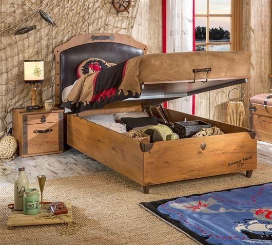 Black Pirat Bett mit Bettkasten